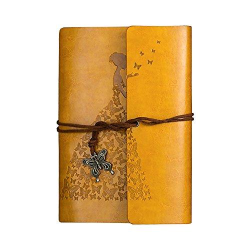 terling Prinzessin Leder Notizbuch Binder Ringe blanko Filler Papier Tagebuch Tagebuch für Bernstein Geschenk gelb ()
