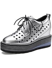 Zapatos de Plataforma de Cuero para Mujer Zapatos con Cordones Zapatos Informales