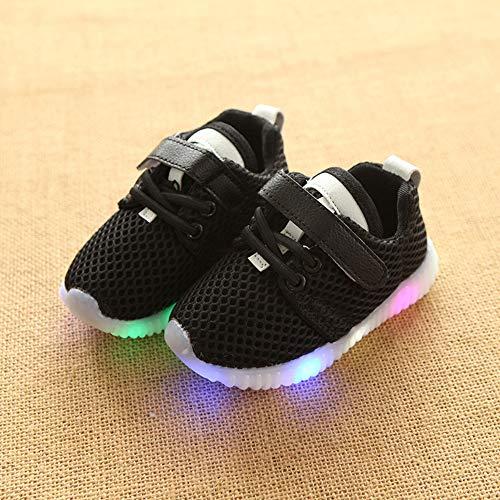 NUOCAI Kinder Sportschuhe, LED Leucht Anti-Slip Sneaker Mesh Atmungsaktiv Leichte Freizeitschuhe Flache Turnschuhe Für Kleinkind Baby Mädchen ()
