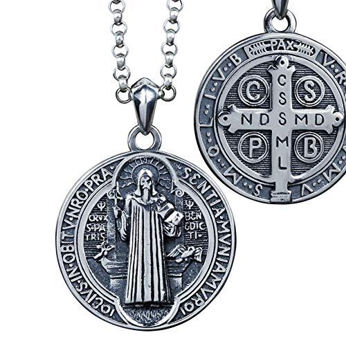 ORKST Hip Hop 925 Sterling Silber Kette St. Benedikt Silber Anhänger Halskette,Männer und Frauen Schmuck Zubehör,50cm