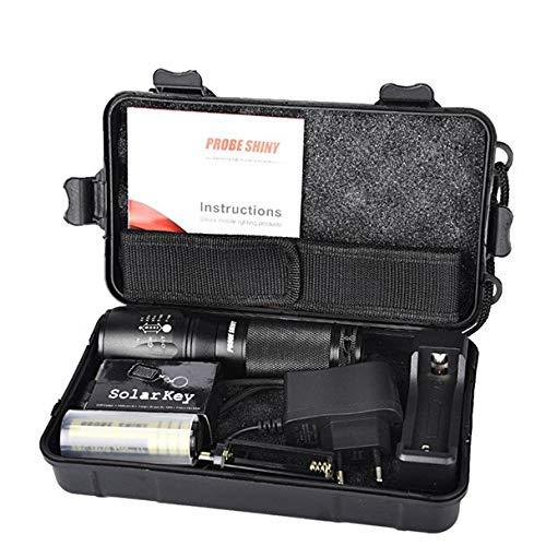 serliy X800 Zoomable XML T6 LED Tactical Flashlight + 18650 Akku + Ladegerät + Hülle