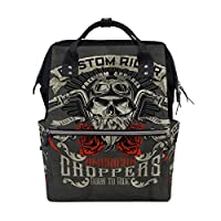 TIZORAX Vintage Biker Skull Diaper Backpack Large Capacity Baby Bag Multi-Function Nappy Bags Travel Mom Backpack for Baby Care