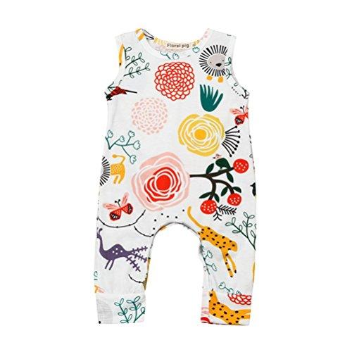 Bt Kinder-overalls (BeautyTop Baby Kleidung Set, Neugeborenes Baby Jungen Mädchen Blume Animal Print Strampler Overall Outfits Kleidung Overall Hosen 3 Stücke Set Anzug Outfits (Weiß, 0-24 Monate) (Weiß, 18-24Monate))