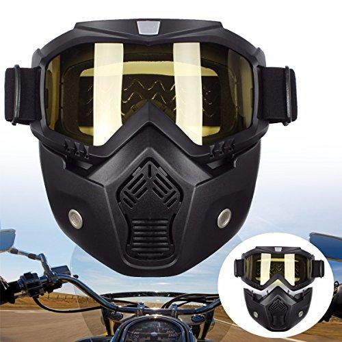 AUDEW Maschera Moto Goggles Occhiali Vintage Casco Custom Chopper Harley Vespa Scooter Casco Aviatore Staccabile (Moto Chopper)