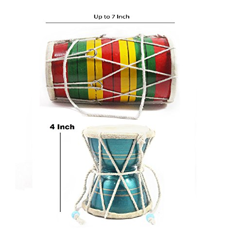 Handicraft Crafted Kids Playing Musical Instruments Wooden Dholak and Damroo Showpieces Multi Occasional Premium Gift