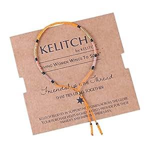 KELITCH Armband Single – coil Bohemian Rocailles Perlen Handmade Mehrfarbig Zart Schnur Freundschaftsarmbänder – Orange