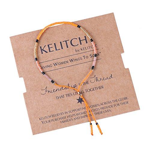 KELITCH Mince Corde Chaîne Perles de Rocaille Amitié Bracelet Collier Bracelet - Orange