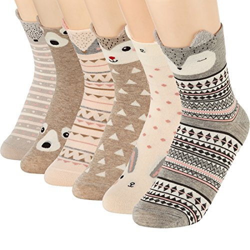 Casual Acryl-crew Socke (Women Cute Cartoon Socken-Casual Cotton Animal Pattern Crew Neuheit Girls Socken)