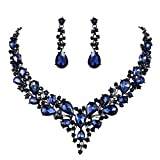 Clearine Juegos de Joyas Mujer - Lágrimas Encaje Flor Rhinstone Conjunto de Joyas para Novia Boda Fiesta Regalo Azul Tono Negro