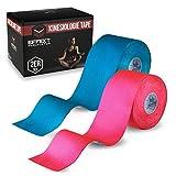 Effekt Manufaktur® Kinesiologie Tape in verschiedenen Farben (5m x 5cm) - Kinesiotapes wasserfest und elastisch Sport - Kinesiotape Sporttape - Physio Tape Kinesio Tapes (Hellblau + Pink, 2er Set)