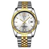 XLORDX Herren Armbanduhr Wasserdicht Woche Datum Analog Quarz Gold Uhr mit Edelstahl Weiß