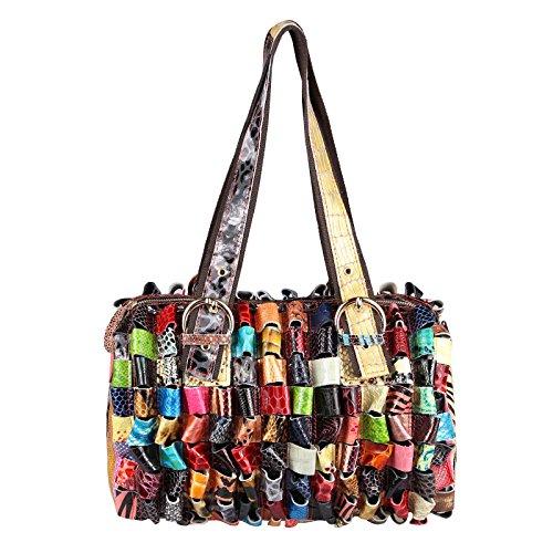 OBC ital-Design Damen Leder Tasche Multicolor Schultertasche Damentasche Shopper Henkeltasche Bunt...