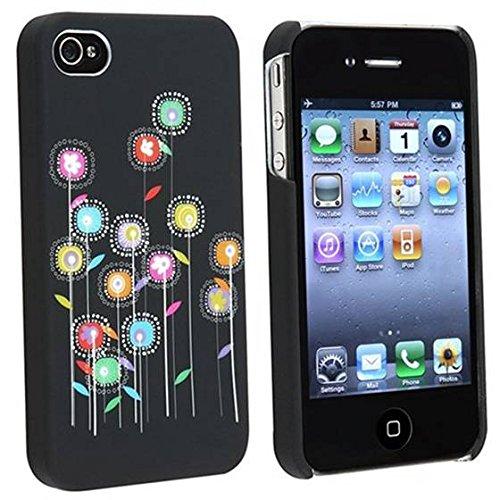 SODIAL(R) Harte Blumen Rubber Etui Schutzhuelle Handytasche Schale fuer Version iPhone 4 4G iPhone 4S - AT&T, Sprint, Version 16GB 32GB 64GB Apple Iphone 4s Att 16gb