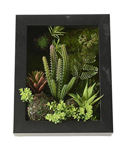 Las flores artificiales soporte de pared 3D suculentas Metope verde oscuro en bastidor cuadrado de madera para la decoración casera, 7,87 * 9,84 pulgadas