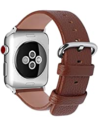 15 Colores para Correa Apple Watch 38mm, Fullmosa®Yan Apple Watch Band de Cuero Apple Watch Pulsera Correa para Watch Reemplazo de Reloj Ediciones Versiones 2015 2016 2017 para iWatch Serie 0,1,2,3, Marrón Caramelo