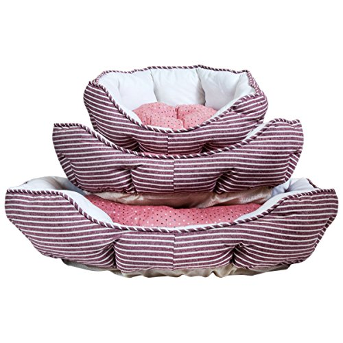 Charles Bentley Oval Striped Red And White Soft Dog Bed MACHINE WASHABLE – Available in Size Extra Small, Small, Medium
