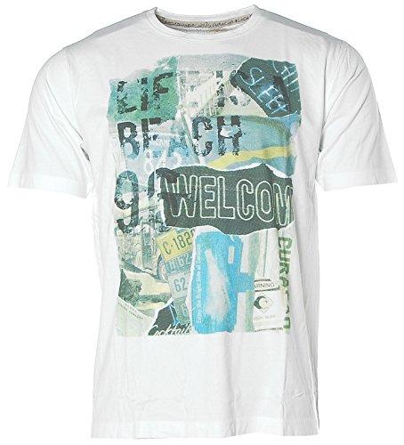 Kitaro Herren Kurzarm Shirt T-Shirt Rundhals Welcome Curacao White