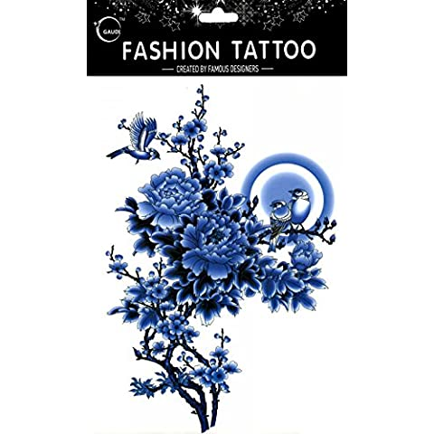 GGSELL GGSELL impermeable y no Tóxico temporal tatuajes diseño grande azul peonía flores con Sparrow temporal tatuajes Mujer para el pecho, Ombligo, Espalda, Piernas,