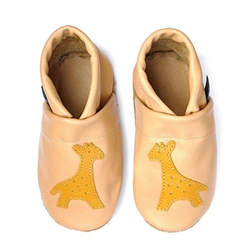 pantau.eu Kinder Lederpuschen Krabbelschuhe Babyschuhe Lauflernschuhe mit Giraffe APRICOT_GELB