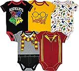 Harry Potter Body de Manga Corta - Hogwarts y Gryffindor - Disfraz Friki Divertido para Bebé Niño y Niña (Pack de 5), 12 Meses