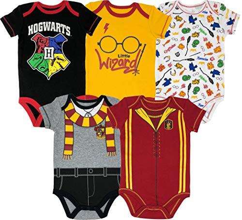 Harry Potter Baby Jungen Mädchen Kurzarm-Body im Hogwarts Gryffindor Style (5er Pack), Mehrfarbig 12 Monate