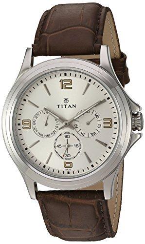 Titan Men's 'Neo' Quartz Metal and Leather Automatic Watch, Color Brown (Model: 1698SL01)