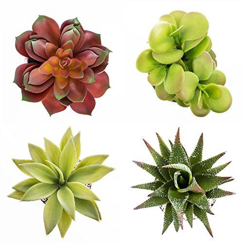 artplants Künstliches Set BLIA aus Aloe Vera Aristata, Echeveria, Dickblatt und Agave im Keramiktopf, 10-18 cm – künstliche Sukkulenten