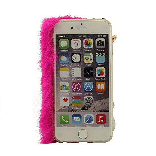 iPhone 6S (4.7 Pouce) Case Cover, Renard Fourrure Modélisation Bling Diamant Coque Housse étui de protection pour iPhone 6 6S (4.7pouces) + Silicone Patte de Support, Souple Fourrure, Transparente Coq Hot Pink