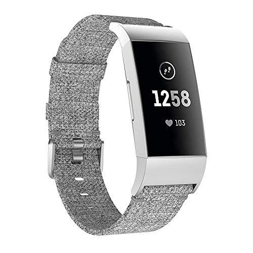 99native Ersatzgewebtes Segeltuch-Gewebe Uhrenarmband-Bügel für Fitbit Gebühr 3, Bandlänge 105mm + 128mm Luxus Segeltuch Leder Uhrenarmband (Grau)