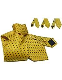 Avantgarde Cravatta uomo gialla a pois neri seta made italy cravatte slim  normal made italy colore 95199beaa3e8