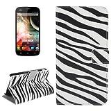 Rocina Tasche für Wiko Darkmoon Zebra Style schwarz weiß