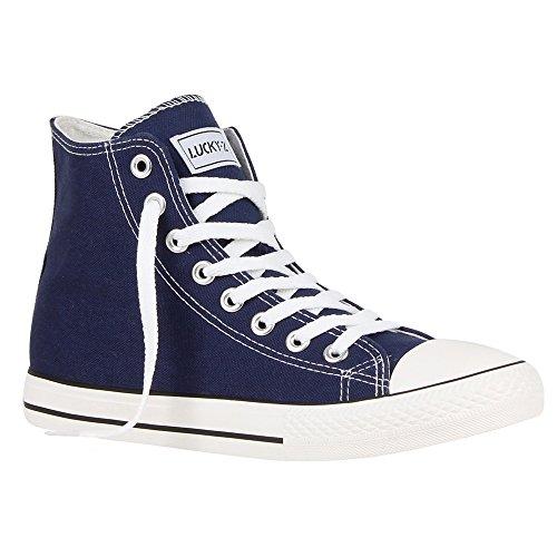 Große Hohe Activewear (Stiefelparadies Herren High Top Sneakers Schnürer Sportschuhe 54121 Dunkelblau Ambler 44 Flandell)