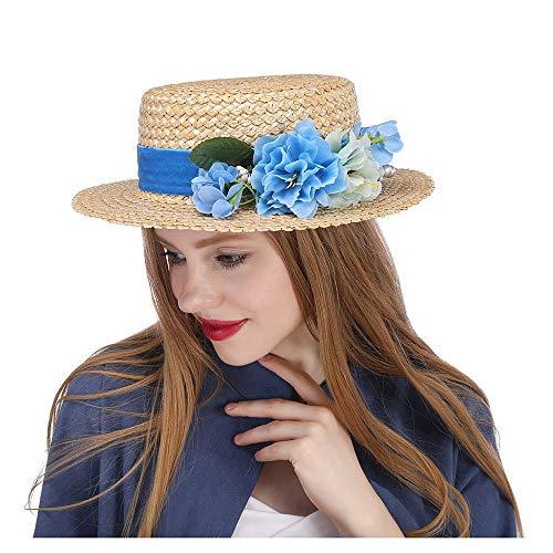 YUXINXIN Die Amerie Hat bedingungslose Top Shuck Fascinator w/Elfenbein Blume Hochzeit Bouquet Boater (Farbe : Natürlich, Größe : 56-58CM) China Bouquet