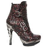 New Rock M.PUNK098X-S13 Mädchen Damen Stiefel Stiefeletten Rot Ferse Schnallen Rock Punk Militär Heavy Gotisch