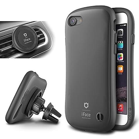iPhone 7 Hülle & Universal KFZ Lüftungsschlitz-Halterung (Winkel einstellbar ) iFace® [Duo] Schwerschutz [Gunmetal] Doppelte Schutzschicht & Extrem Hoher Fallschutz Schutzhülle für iPhone 7 Case, iPhone 7 Cover - Gunmetal Gray