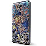 Xiaomi Redmi Note 2 Funda,Lizimandu 3D Patrón Protectiva Carcasa de Silicona Gel TPU estrecha Case Cover Para redmi note 2(Flor Azul/Blue Flower)