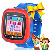 Kids Smart Watches with Games, 1.5' Touch Children Tracker Pedometer Step Count Wristwatch Digital Timer Alarm Stop Sports Clock Health Monitor Outdoor Birthday Gifts for Boy Girl (Blue(W8))