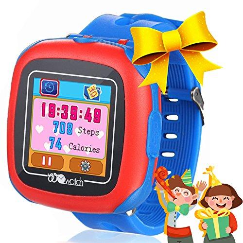 Niños Relojes inteligentes con juegos, 1.5 'Touch Niños Rastreador Podómetro Reloj de cuenta de pasos Temporizador digital de alarma Detener Reloj deportivo Monitor de salud Regalos de cumpleaños al aire libre para niño Niña (Azul)
