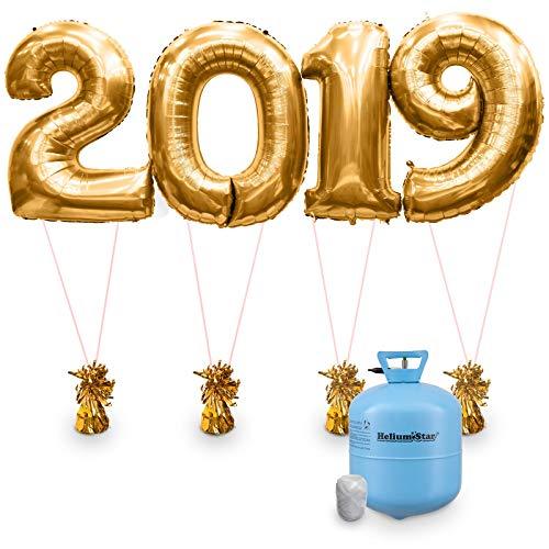 Helium Star: Ballongas Set mit Folienballons in Gold, Zahl 2019 als Silvester Party Deko mit Ballongewichten und Band EINWEG, Gold