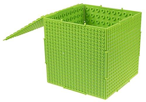 Strictly Briks The Cube - Baustein-Set mit Aufbewahrungsbox - 6 steckbare doppelseitige Platten mit großen & kleinen Noppen - kompatibel mit Allen großen Marken - 16,5 x 16,5 x 16,5 cm - Neongrün -