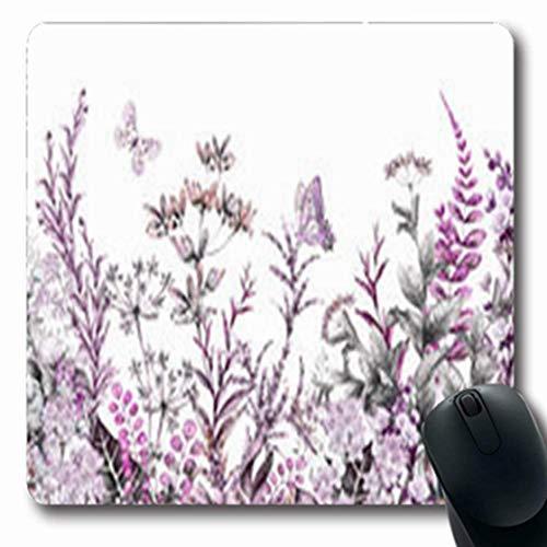 Gsgdae Mauspad Botanischer Rand Kräuter Wildblumen Natur längliche Form 20 x 24 cm länglich Gaming Mauspad Anti-Rutsch Mauspad -