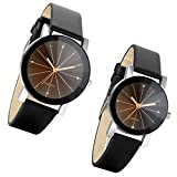 Lancardo 2pcs Herren Damen Freundschafts Armbanduhr, Casual Analog Quarz Zeitloses Design klassisch Uhr für Lieben Valentinstag Paar Paare Geschenk, Schwarz Leder Armband