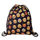 Turnbeutel Fullprint All Over Emoticon Emoji Black Smileys Beuteltasche Hipsterbag