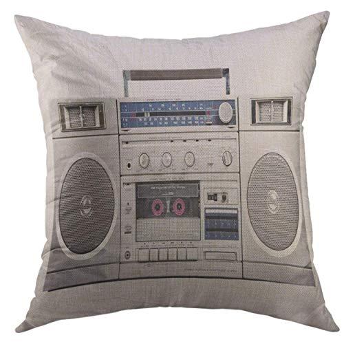 uytgyuhioj Pillow Case Speaker 1980S Silver Radio Boom Box Cassette White Stereo Retro Square Throw Pillow Cover for Men Women Kids Cushion Cover18x18 inch (Cover Stereo Marine)