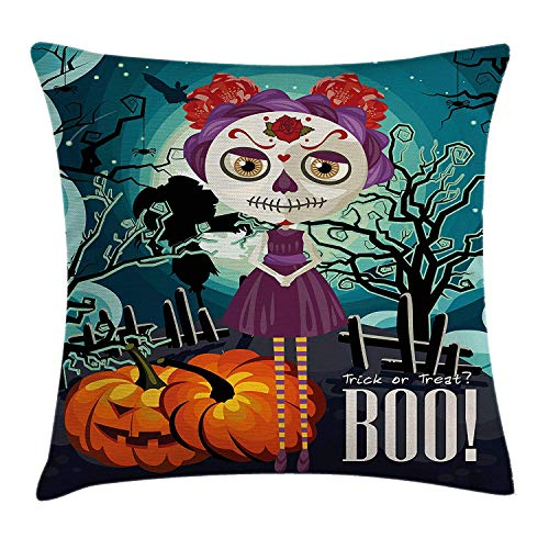 Halloween Throw Pillow Cushion Cover, Cartoon Girl with Sugar Skull Makeup Retro Seasonal Artwork Swirled Trees Boo, Decorative Square Accent Pillow Case, 18 X 18 inches, ()