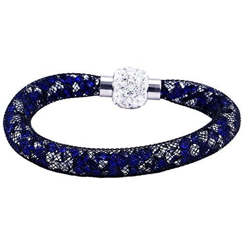 Morella Bracciale Donna Strass e zirconi Cristallo con Chiusura Magnetica Bianco Blu