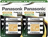 8pcs Panasonic Evolta HHR-3XXE Rechargeable AA Battery Pre-charged & Ready to use 2450mAh NiMh Batteries