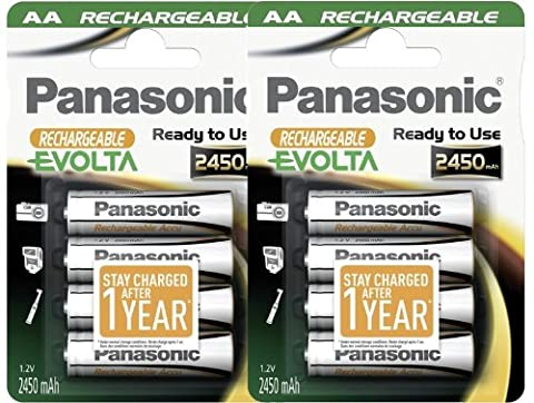 8pcs Panasonic Evolta HHR-3XXE Rechargeable AA Battery Pre-charged & Ready to use 2450mAh NiMh