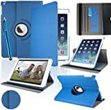 SAVFY New Apple iPad Air (2013 Version) Blue Premium PU Leather 360 Degree Rotating Stand Smart Case Cover Skin 2 Card Slots for Apple iPad Air with Built-in Magnetic Auto Sleep Wake Feature, EXTRA Gift: SAVFY Stylus Pen + SAVFY Screen Protector Film (Available in Multiple Colors)