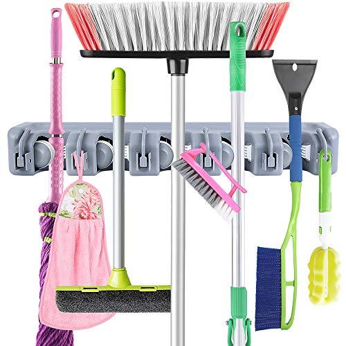 Garten Tool Rack (Mop Besen Halter, Besen Kleiderbügel mit 5 Positionen und 6 Haken Wand montiert Besen Organizer Home Tools Storage Rack für Küche Garten und Garage)